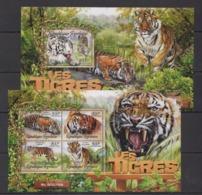 TG019 2016 TOGO TOGOLAISE FAUNA ANIMALS WILD BIG CATS TIGERS LES TIGRES KB+BL MNH - Big Cats (cats Of Prey)