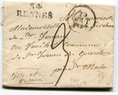 ILLE ET VILAINE De RENNES  LAC De 1829 à En Tête De L évéché  Linéaire 31x11 Taxe De 3 Pour SAINT MALO - 1801-1848: Precursors XIX