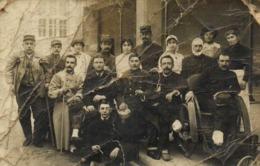 Carte Photo Militaires Blessés Et Infirmières à Narbonne  1RV - Fotografia