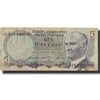 Billet, Turquie, 5 Lira, 1968, 1968-01-08, KM:179, TB - Turchia