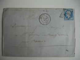 Nimes Petit Chiffre 2272 Obliteration Triangle Point Sur Lettre Timbre Bleu Empire Non Dentele - Marcophilie (Lettres)