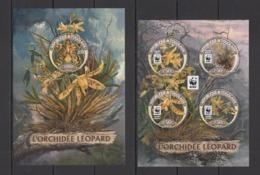 TG274 2016 TOGO TOGOLAISE WWF FLORA FLOWERS LEOPARD ORCHIDS LES ORCHIDEES KB+BL MNH - W.W.F.