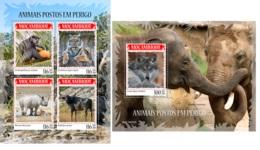 Mozambique 2019 Endangered Species Monkey Tiger Rhino MS+S/S MOZ190402a - Sin Clasificación