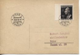 Böhmen & Mähren # 131 Einzelfrankatur Postkarte Prag 30.9.43, Reinhard Heydrich - Böhmen Und Mähren