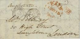 1846- Lettre De Boulogne-s-Mer ( Pas De Calais ) Pour Londres - Cad T15 + PD + Cad PAID  ( Cercle Tireté Rouge ) - Marcophilie (Lettres)