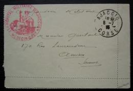 Ajaccio Corse Hôpital Militaire 1915 Cachet Rouge Médecin Chef Sur Carte Lettre Pour Amiens, Somme - Guerre De 1914-18