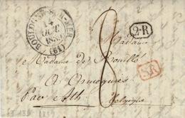 1839- Lettre De Boulogne-s-Mer ( Pas De Calais )  Cad T13 Pour La Belgique  S R  Rouge + 2-R Encadré - 1801-1848: Vorläufer XIX