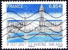 Oblitération Moderne Sur Timbre De France N° 5166 - 500 Ans Du Havre - Bassin Du Commerce, Pont De Normandie - France