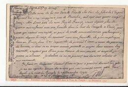 CPA Histoire - Testament écrit Par  De Louis XVI Dans La Tour Du Temple - 19 Décembre 1792  - Achat Immédiat  (cd 003) - Histoire