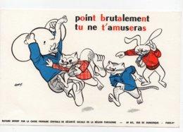 Buvard Offert Par Caisse Primaire De Sécurité Sociale Paris Georgy Animaux Humanisés Rugby Eléphant Ecureuil Lapin Chat - Blotters
