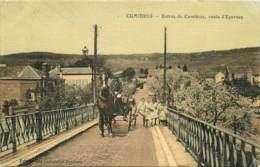 CUMIERES ENTREE DE CUMIERES ROUTE D'EPERNAY CARTE COLORISEE ET TOILEE - Autres Communes