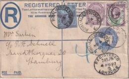 GRANDE-BRETAGNE 1897 ENTIER POSTAL/GANZSACHE/POSTAL STATIONERY LETTRE RECOMMANDEE DE LONDRES - Postwaardestukken