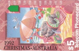 Australia, N920622,  1992 Christmas -Wombats At The Beach, 2 Scans. - Natale
