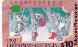 Australia, N920633a,  1992 Christmas -Koalas On Christmas Eve, 2 Scans. - Kerstmis