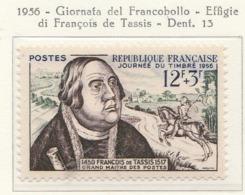 PIA  - FRAN : 1956 :Giornata Del Francobollo. Effigie Di François De Tassis  - (Yv 1054) - Giornata Del Francobollo