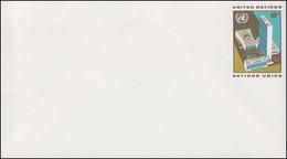 UNO New York Umschlag U 5A Hauptquartier 8 Cent 1973, 165x92, Ungebraucht ** - New York -  VN Hauptquartier