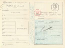 """1934 PERMIS DE CHASSE DEPARTEMENTAL NON PLIÉ - SPECIMEN  - """" PRIX PORTÉ DE 44f à 54f : 5'f """" + DAUSSY PRIX 44F - Historische Dokumente"""