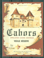 CAHORS - VIEILLE RESERVE - APPELLATION CAHORS CONTROLEE (Etiquette Neuve)   75 Cl  11,5% Vol. - Cahors