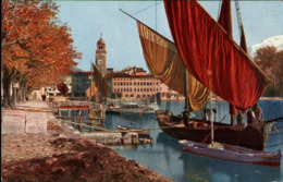 !  Alte Ansichtskarte Riva Del Garda, Hafen, Harbour - Italia