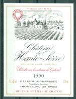 CAHORS - CHÂTEAU DE HAUTE - SERRE 1990 APPELLATION CAHORS CONTROLEE (Etiquette Neuve)   750 Ml  12,5% Vol. - Cahors