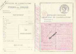 """1934 PERMIS DE CHASSE DEPARTEMENTAL NON PLIÉ - SPECIMEN  - """" PRIX PORTÉ DE 116FA 200F+ DAUSSY PRIX 116F - Documents Historiques"""