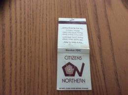 "Pochette D'allumettes États-Unis ""CITIZENS NORTHERN - BANK - CHRISTMAS CLUB - Elkhart, Indiana"" - Boites D'allumettes"