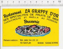Autocollant Sticker Publicité Restaurant La Grappe D'Or Saint-Satur Sancerre Spécialités Fruits De Mer Paella 21/22ADH - Autocollants