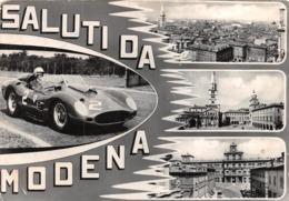 """0749 """"SALUTI DA MODENA"""" ANIMATA, AUTO FERRARI CORSA N° 2. CART. ILL. ORIG. SPED. 1963 - Modena"""