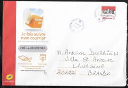 Monaco . Entier Enveloppe De Réexpédition Du Courrier . Oblitérée Monaco Monte Carlo 2019 - Entiers Postaux