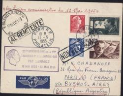 25e Anniversaire 1ère Traversée Atlantique Par Mermoz 12 5 55 Liaison Commémorative Par Avion Pr Buenos Aires - Postmark Collection (Covers)