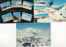 LES 2 ALPES ( 38 ) - 3 Cpsm - Francia