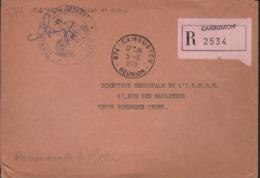 Réunion 974-Cambuston 5-6 I978 Cachet Manuel Avec Recommandé D'office, étiquette Rose - Oblitérations Mécaniques (flammes)