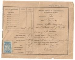 1874 TIMBRE FISCAL DMENSION 25 CENTIMES SUR DOC DIRECTION GENERALE DE L'ENREGISTREMENT DES DOMAINES ET DU TIMBRE  B925 - Fiscaux