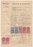 1952  7  TIMBRES FISCAUX SUR CERTIFICAT DE NATIONALITE FRANCAISE / JUSTICE DE PAIX / MAIRIE MONTPON DORDOGNE  E25 - Fiscaux