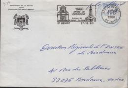 """Réunion 974-St Benoit 17-12-80 Flamme =o """"1980 Année Du Patrimoine Eglise De St Benoit Et Ste Anne - Marcophilie (Lettres)"""