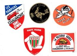 Autocollant Publicité - Lot 5 - Haute-Marne 52 - LES POMPIERS CHAUMONT Camion USEP Pizzeria AGORA Judo Club JOINVILLE - Autocollants