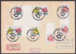 """Mi-Nr.: Hz 15, """"Rosen"""", Herzstück Mit Noch 2 Anhängfenden Marken Und Zusatzfr. Auf R- Brief, Sehr Dekorativ - Zusammendrucke"""