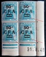 Réunion Taxe 37 Coin Daté Bloc De 4 Timbres CFA  Neufs ** Sans Charnières Avec Variétés Avec Variétés Cassures Etc..... - Réunion (1852-1975)