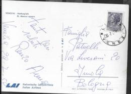 VENEZIA - PIAZZA SAN MARCO - VEDUTA AEREA - EDIZ. ALTEROCCA PER L.A.I. (LINEE AEREE ITALIANE) -VIAGGIATA 1958 DA LIDO - Venezia (Venice)