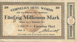 ALLEMAGNE FUNFZIG MILLIONEN MARK  CORNELIUS HEYL WORMS - [ 3] 1918-1933 : Weimar Republic