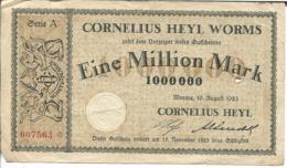 ALLEMAGNE EINE MILLION MARK CORNELIUS HEYL WORMS - [ 3] 1918-1933 : Weimar Republic