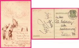 Entier Postal 5 Cent - URK ( N.H. ) 1929 - Sur Cp Dessin Fait Main - Femme Et Enfant - Voilier - 1891-1948 (Wilhelmine)