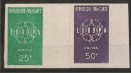 FRANCIA - FRANCE - EUROPA 1959 - SERIE  2 V.-  CON  BORDE De HOJA - SIN DENTAR  LUJO (IMPERFORATED) - 1959