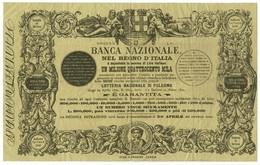 LIRE BIGLIETTO LOTTERIA NAZIONALE DI PALERMO 24/03/1891 MB/BB - Billets De Loterie