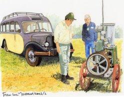 Autobus Citroen And Stationary Engine -  Aquarelle Par Jean-Luc Marsaud  - (A4 30x21cms Art Print) - Buses & Coaches