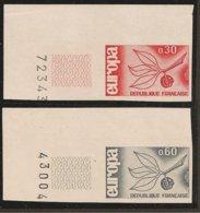 FRANCIA - FRANCE - EUROPA 1965 - SERIE  2 V.-  ESQUINA  De HOJA - SIN DENTAR  LUJO (IMPERFORATED) - Europa-CEPT