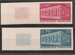 FRANCIA - FRANCE - EUROPA 1969 - SERIE  2 V.- ESQUINA DE HOJA - SIN DENTAR  LUJO (IMPERFORATED) - Europa-CEPT
