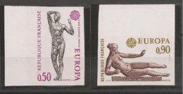 FRANCIA - FRANCE - EUROPA 1974 - SERIE  2 V.- ESQUINA DE HOJA - SIN DENTAR  LUJO (IMPERFORATED) - 1974