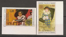 FRANCIA - FRANCE - EUROPA 1975 - SERIE  2 V.- ESQUINA DE HOJA - SIN DENTAR  LUJO (IMPERFORATED) - Europa-CEPT