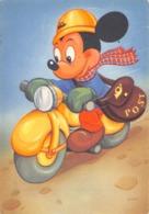 """0763 """"TOPOLINO MOTOCICLISTA POSTINO""""  CART. ILL. ORIG. NON SPED. - Disneyworld"""